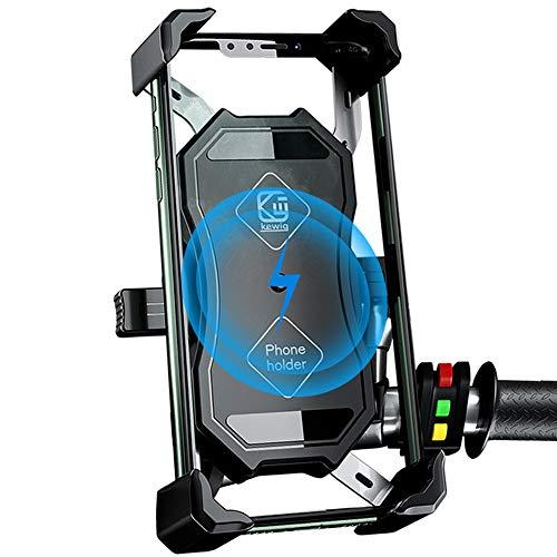 Motorrad Handyhalterung, 2 in 1 QI Drahtloses und QC...